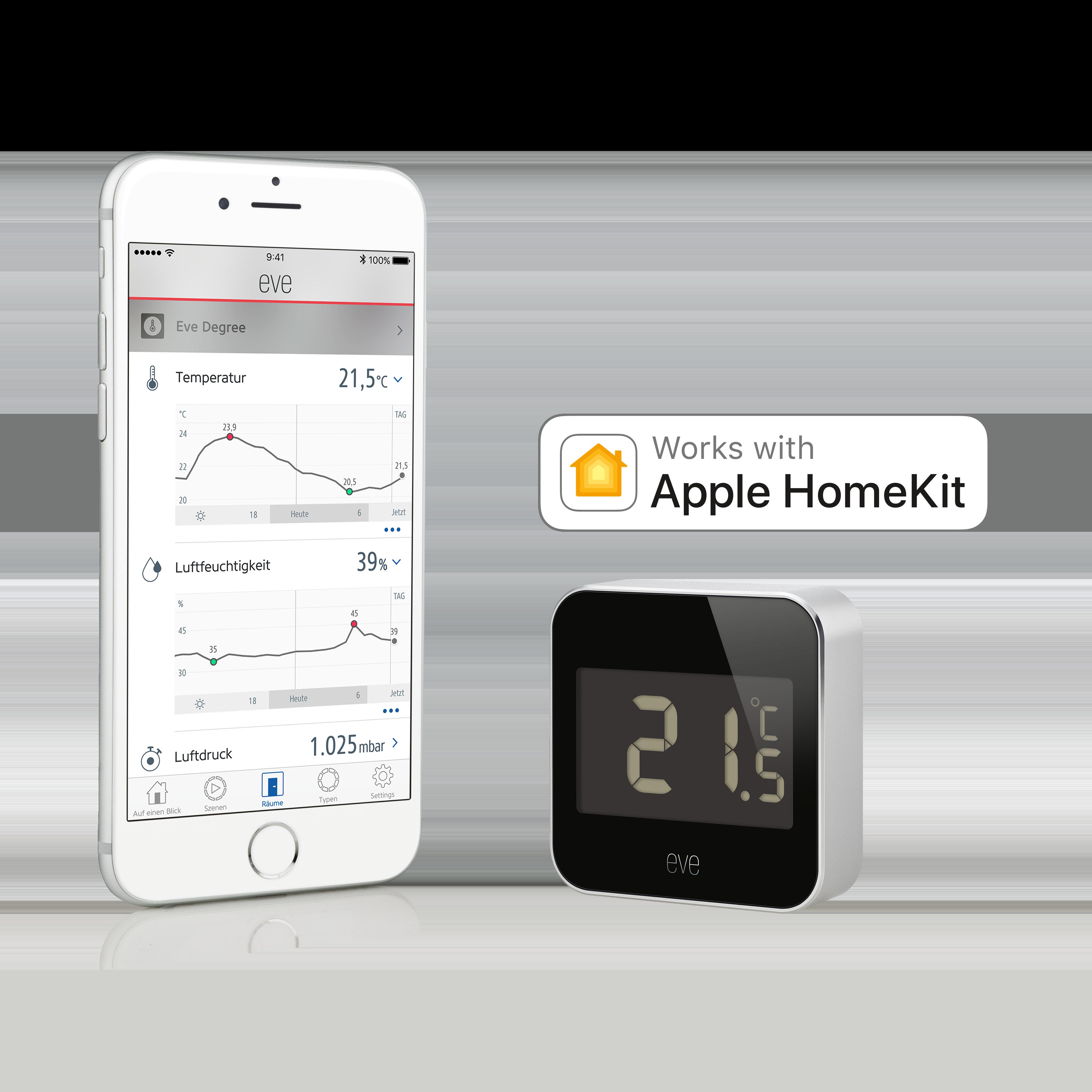 Elgato EVE Degree, Temperatur- und Luftfeuchtigkeits-Monitor